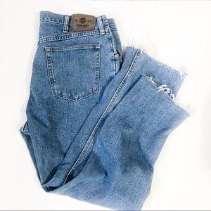 Vintage Straight Leg Raw Hem Boyfriend Jeans